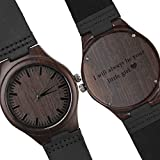 Engraved Wooden Watch for Men Analog Quartz Watch with Black Leather Strap - I Will Always Be Your Little Girl - Father's Day Gift for Dad Gift