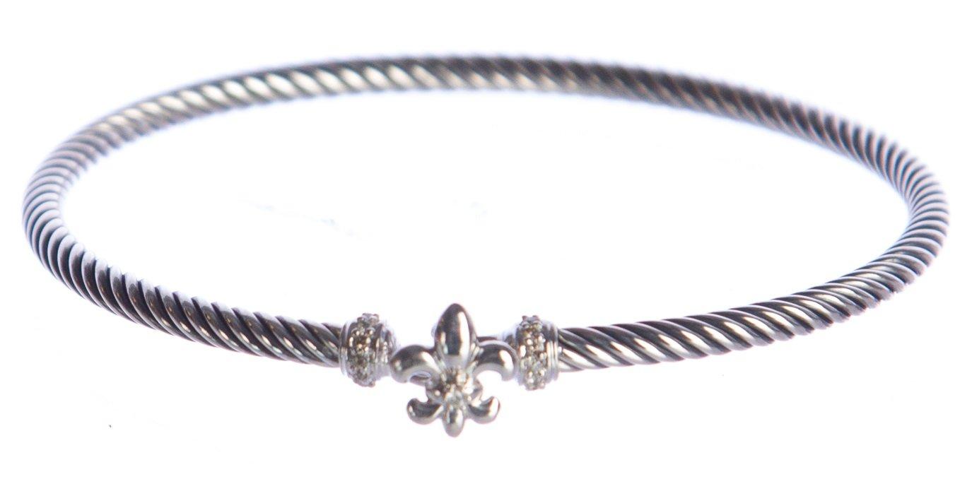 DAVID YURMAN Women's Fleur-de-Lis Bracelet with Diamonds 3mm