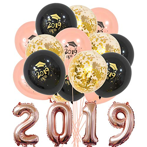 2019 Graduation Party Supplies Decorations Balloons 34 Pcs Rose Gold Foil Balloons Black Thicker,Gold Confetti,Rose Gold]()