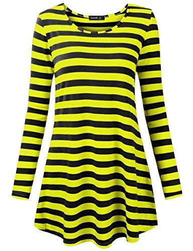FULVM Women's Long T-Shirt Where's Waldo Halloween Costume Stripes T-Shirt Yellow Black L ()