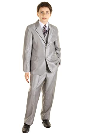 Anzug Grau Hochzeit Kind 5 Stücke Grau 2 Ans Amazonde Bekleidung