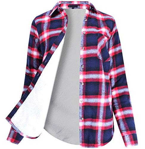 Winter Flannel Plaid Button Down Top with Sherpa Fleece Lining Navy Red S Size