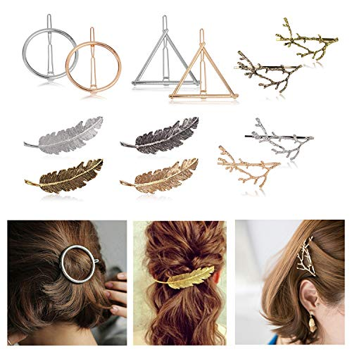 (CODOHI 12 Pcs Metal Hairpin Tree Branch Alloy Feather Leaf Circle Triangle Style Barrette Pin for Women Girls)