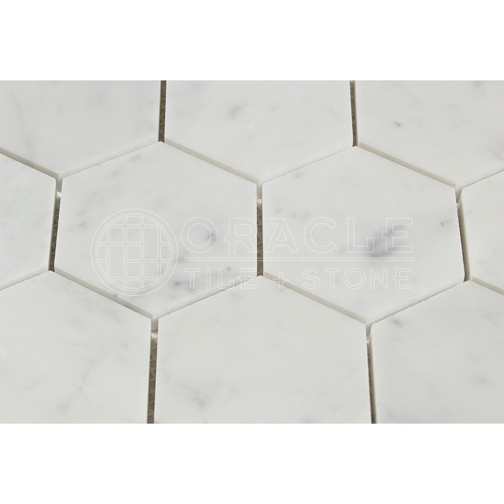 Carrara white italian carrera marble hexagon mosaic tile 3 inch carrara white italian carrera marble hexagon mosaic tile 3 inch polished amazon dailygadgetfo Image collections