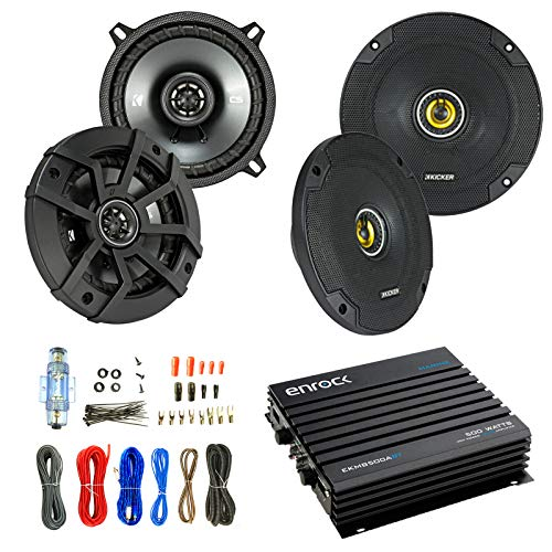 - Car Speaker And Amp Combo: 2x Kicker 43CSC5 450-Watt 5-1/4
