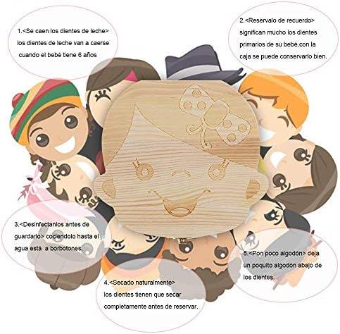 Princesa Lomire Cajita para Dientes de Leche en Espa/ñol Caja Almacenamiento Organizador de Madera Para Guardar Dientes Pelo Fetal Para Beb/és Reci/én Nacidos