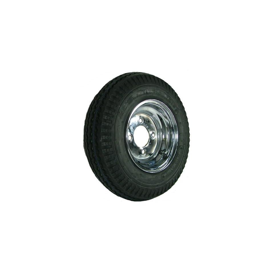 "4 hole 8"" x 3.75"" Chrome Trailer Wheel & Tire (590 lb. capacity) Automotive"