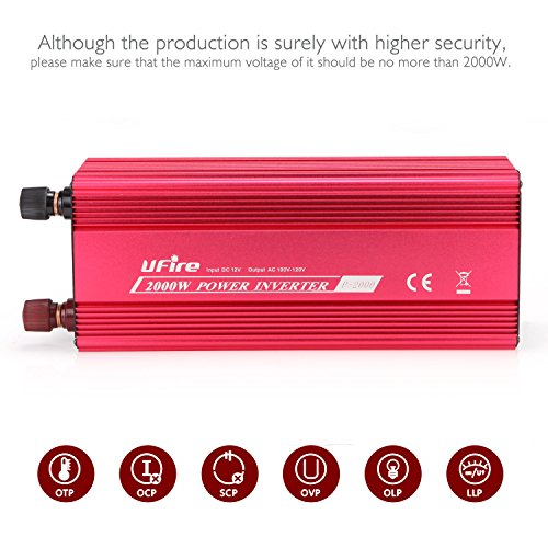 UFire 2000W Power Inverter DC 12V to 110V AC Car Converter with 2 AC Outlets 2A USB Car Adapter -Red by UFire (Image #1)