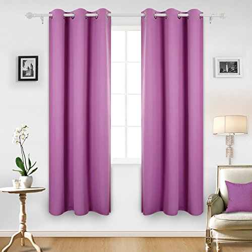 deconovo room darkening thermal insulated blackout grommet window curtain panel for kids room pink 1 panel