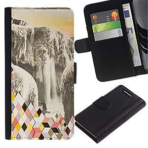 For Sony Xperia Z1 Compact / Z1 Mini / D5503,S-type® Abstract Polygon Glacier - Dibujo PU billetera de cuero Funda Case Caso de la piel de la bolsa protectora