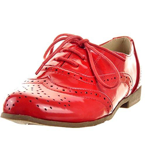 Sopily - Scarpe da Moda Scarpe brogue Mocassini alla caviglia donna lucide Perforato Tacco a blocco 2 CM - Rosso