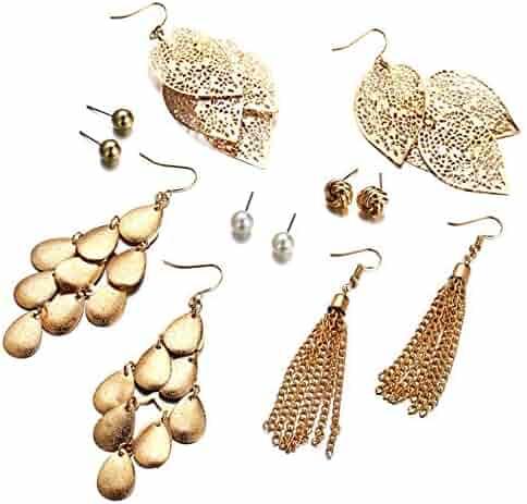 05d78b6f2 Aooaz Earrings for Men Women 6 Pairs Set Hollow Leaves Ball Chain Tassel  Dangle Earrings Gold