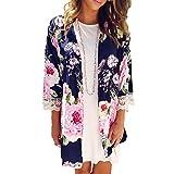 BB&KK Women Summer Floral Print Chiffon Kimono Cardigan Lace Cover Up Blouse Tops (S)
