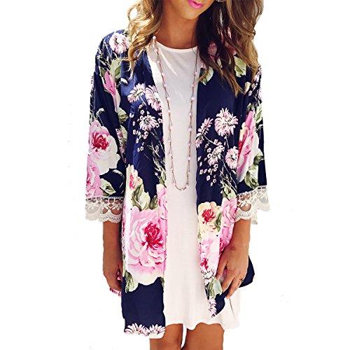 BB&KK Women Summer Floral Print Chiffon Kimono Cardigan Lace Cover Up Blouse Tops