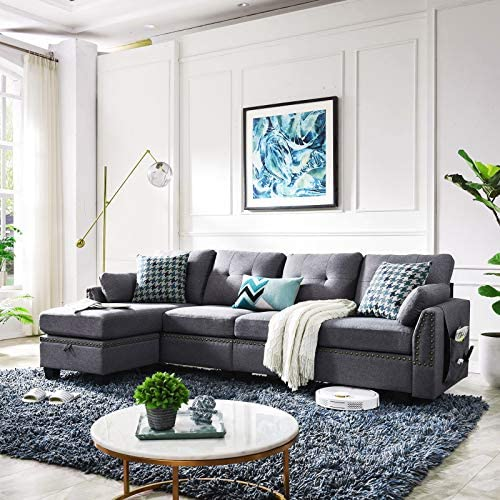 HONBAY Reversible Sectional Sofa Couch for Living Room L-Shape Sofa Couch 4-seat Sofas Sectional for Apartment Dark Gray