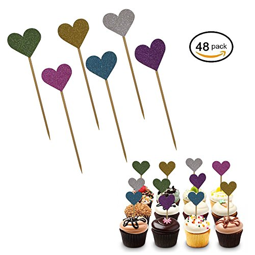 Multi Colored Glittery Heart Cupcake Toppers