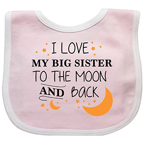 - Inktastic - I Love My Big Sister To The Moon and Back Baby Bib Pink/White 29629