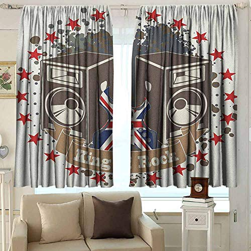 AFGG Outdoor Curtains Popstar Party King Rock Label with Speakers Stars and Electric Guitar with British Flag Waterproof Patio Door Panel 55 W x 72 L Inches Multicolor