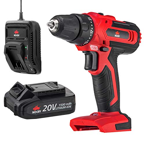 NoCry 20V Cordless Drill Kit – 266 In-Lb (30N.m) Max Torque Driver, 1400 RPM Max Speed, 3/8in Chuck, 21+1 Position; 1.5 Ah Battery & Fast Charger Included
