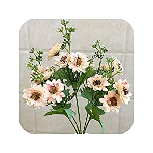 Lovely 15 Flowers Artificial Flowers Party Wedding Home Flowers for Decoration Silk Mini Daisy Fake Flower Artificial Plants,Light Pink 52