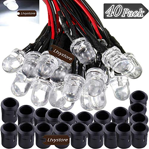 10MM 12V White LED Pre Wired Prewired 7.87 Inch Lamp Light Bulb Prewired Emitting Diode& Black 10MM LED Plastic Clip Holder Display Panel Pack of 40 Ltvystore