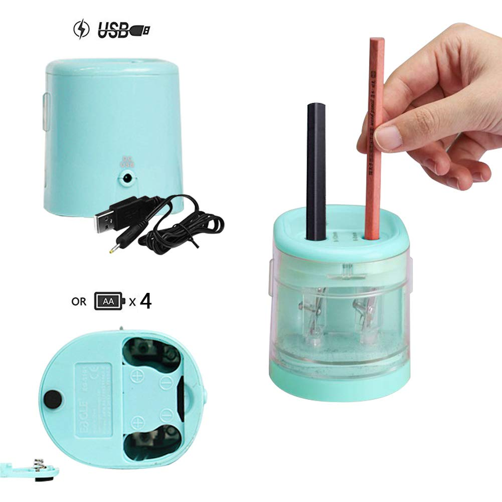 No Incluida y Cable USB Rosa Yuccer Sacapuntas Electrico Profesional Sacapuntas Automatico Use Bater/ía Sacapuntas Electrico