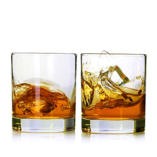Whiskey Glasses,Set of 2,11 oz,Premium Scotch Glasses,Bourbon Glasses for Cocktails,Rock Style Old Fashioned Drinking Glassware,Perfect for Father