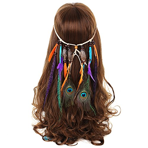 Hovisi Indian Vintage Boho Gorgeous Peacock Jade Purple Brown Feathers Hair Band Headwear Braided Headband Tie forWomen Girl (Style (Pretty Peacock Child Costumes)