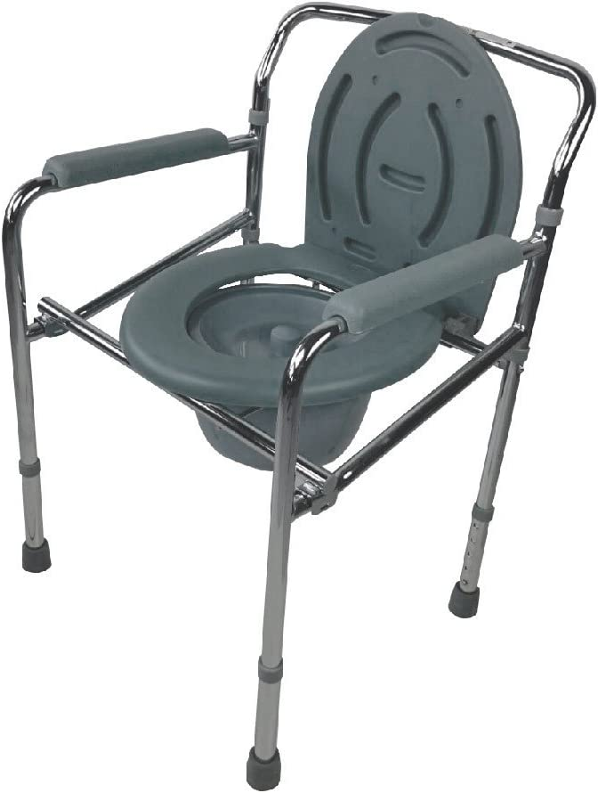 Mobiclinic, Puente, Silla con WC o inodoro para discapacitados, minusválidos, ancianos, Plegable, Reposabrazos, Asiento ergonómico, Acero cromado, Conteras antideslizates
