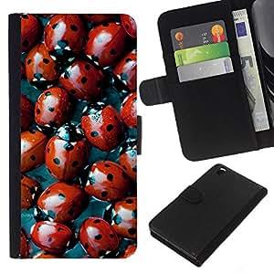 KLONGSHOP // Tirón de la caja Cartera de cuero con ranuras para tarjetas - Red Bug Spots Diseño natural - HTC DESIRE 816 //
