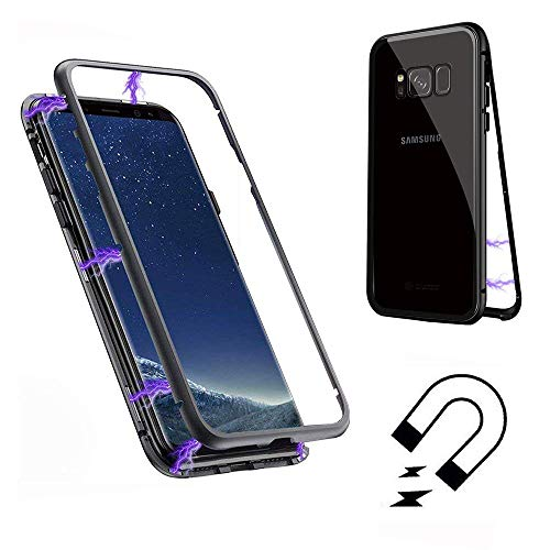 Price comparison product image SevenPanda Case for Samsung S7 Edge,  Cover for Galaxy S7 Edge,  Magnetic Absorption Metal Frame Tempered Glass Back with Magnetic Cover Full Body Slim Ultra Thin Lightweight Case - Transparent + Black