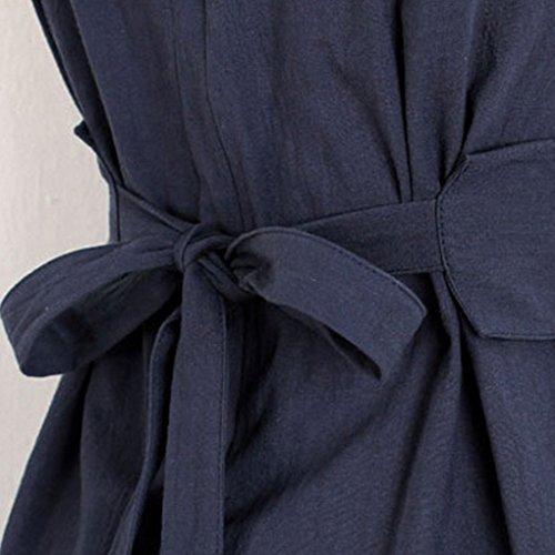 collo Senza Maniche Providethebest Abito Del Casuale Blu Increspato Vestito Una Donne Navy O Vita Ragazze Di Le Solid Linea Legame UVpMqSzG