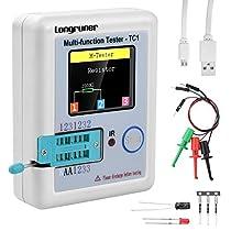 Multi-function Tester, Longruner 1.8 inch Colorful Display Pocketable Multifunctional TFT Backlight Transistor LCR-TC1 Tester for Diode Triode Capacitor Resistor Transistor LCR ESR NPN PNP MOSFET LW21