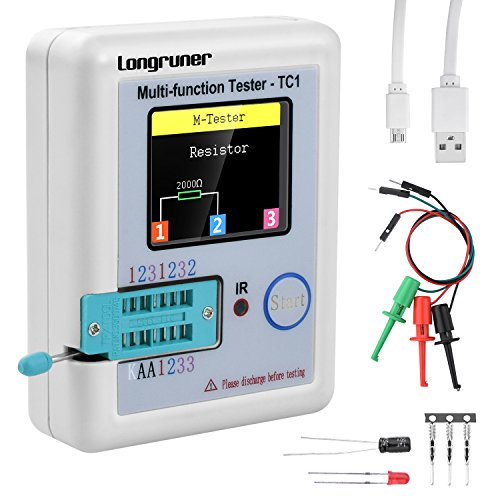 Longruner 1.8 inch Colorful Display Pocketable Multifunctional TFT Backlight Transistor LCR-TC1 Tester for Diode Triode Capacitor Resistor Transistor LCR ESR NPN PNP MOSFET (multi tester)