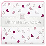 SwaddleDesigns Ultimate Swaddle, X-Large Receiving Blanket, Made in USA Premium Cotton Flannel, Bright Pink Jewel Tone Little Chickies (Mom's Choice Award Winner)