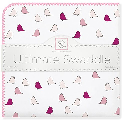 (SwaddleDesigns Ultimate Swaddle, X-Large Receiving Blanket, Made in USA Premium Cotton Flannel, Bright Pink Jewel Tone Little Chickies (Mom's Choice Award Winner))