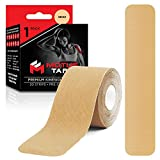 Motus Tape Elastic Cotton Kinesiology Tape, Waterproof, Therapeutic Support, 20 units, 2 x 10 Inch Pre-Cut Strips, Beige