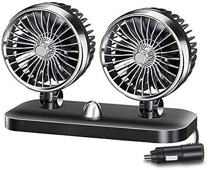 Queta Ventilateur Auto Ventilateur de Voiture 12 V de 180 °Rotation Doubles Têtes Rotatives, 2 Vitesses À Faible Bruit Silencieux avec Allume Cigare
