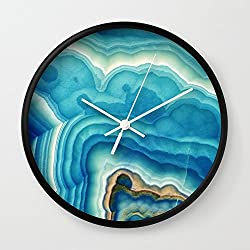 Society6 Blue Onyx Wall Clock Black Frame, White Hands