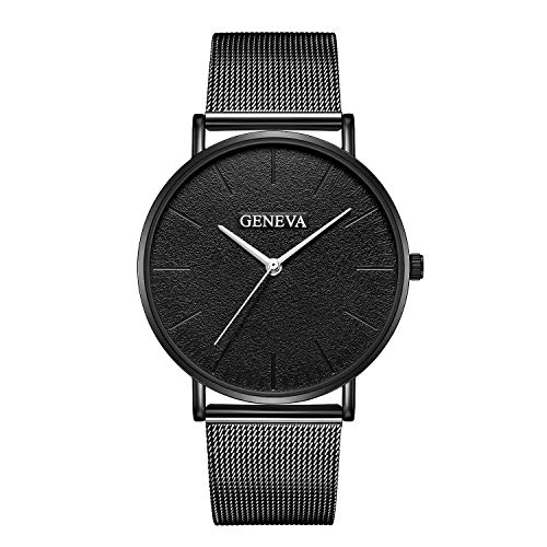 Balakie Geneva Simple Women Mens Stainless Steel Mesh Band Quartz Analog Wristwatch A174 Valentines Day Gift(K)