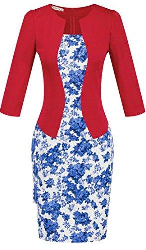 Cruiize Des Femmes De Faux Deux Ceinture D'impression Workwear Maigre Robe Moulante Crayon 3