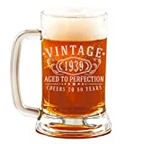 80th Birthday Etched 16oz Glass Beer Mug - Vintage 1939 Aged to Perfection - 80 years old gifts