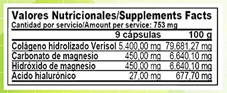 Colageno Hidrolizado Verisol® + Acido Hialuronico + Magnesio | 180 ...