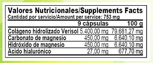 Colageno Hidrolizado Verisol + Acido Hialuronico + Magnesio | 180 Capsulas: Amazon.es: Salud y cuidado personal