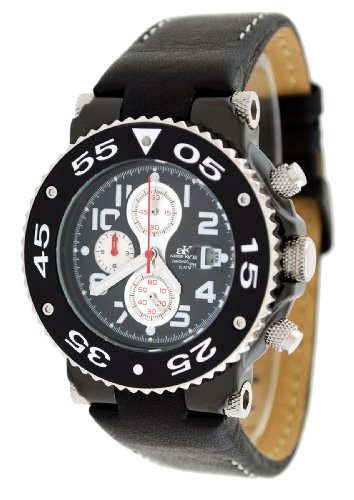 Adee Kaye #AK8026-MIPB Men's Black IP with Silver Trim Sports Chronograph Watch