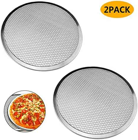 Pack of 2 Pizza Pans with Holes Seamless Pizza Screen Aluminum Pizza Pan Round Non-Stick Tray Tool Pizza Pan Baking Screen Chef's Baking Screen (10 in)
