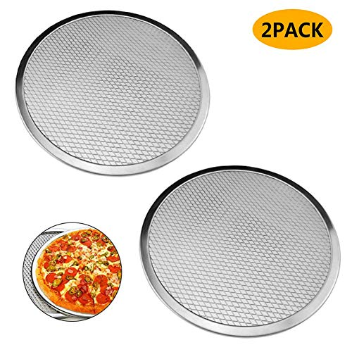 - Pack of 2 Pizza Pans with Holes Seamless Pizza Screen Aluminum Pizza Pan Round Non-Stick Tray Tool Pizza Pan Baking Screen Chef's Baking Screen (14 in)