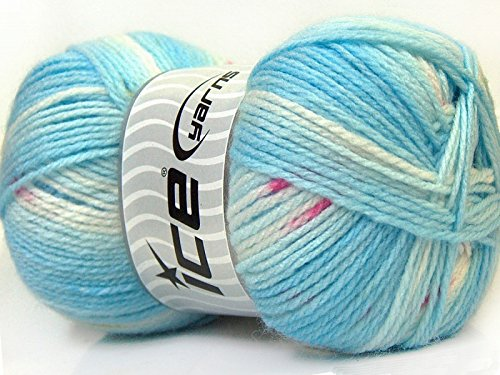 ((1) 100 Gram Baby Design Yarn - Blues, White, Pink, Green Self-Striping, Patterning - Acrylic, 393 Yards)