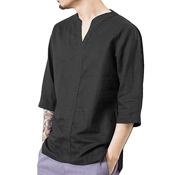 7adfe251f451 Hongxin Men s Linen Chinese Style Shirt Loose Small V-Neck Fashion Casual  Comfortable Shirt Men s Solid Color Tops  Amazon.co.uk  Clothing