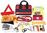 Thrive Roadside Assistance Auto Emergency Kit + First Aid Kit – Rugged Tool Bag - Contains Jumper Cables, Tools, Reflective Safety Triangle and More. Ideal Winter Accessory for Your car or Truck
